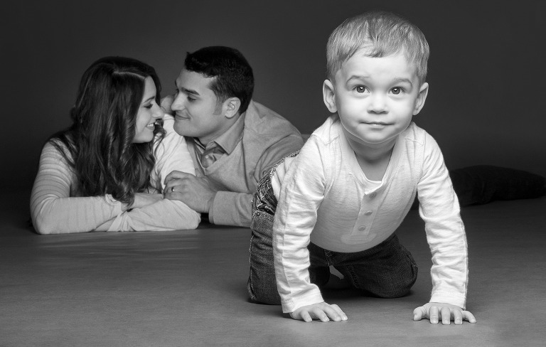 child in front of parents